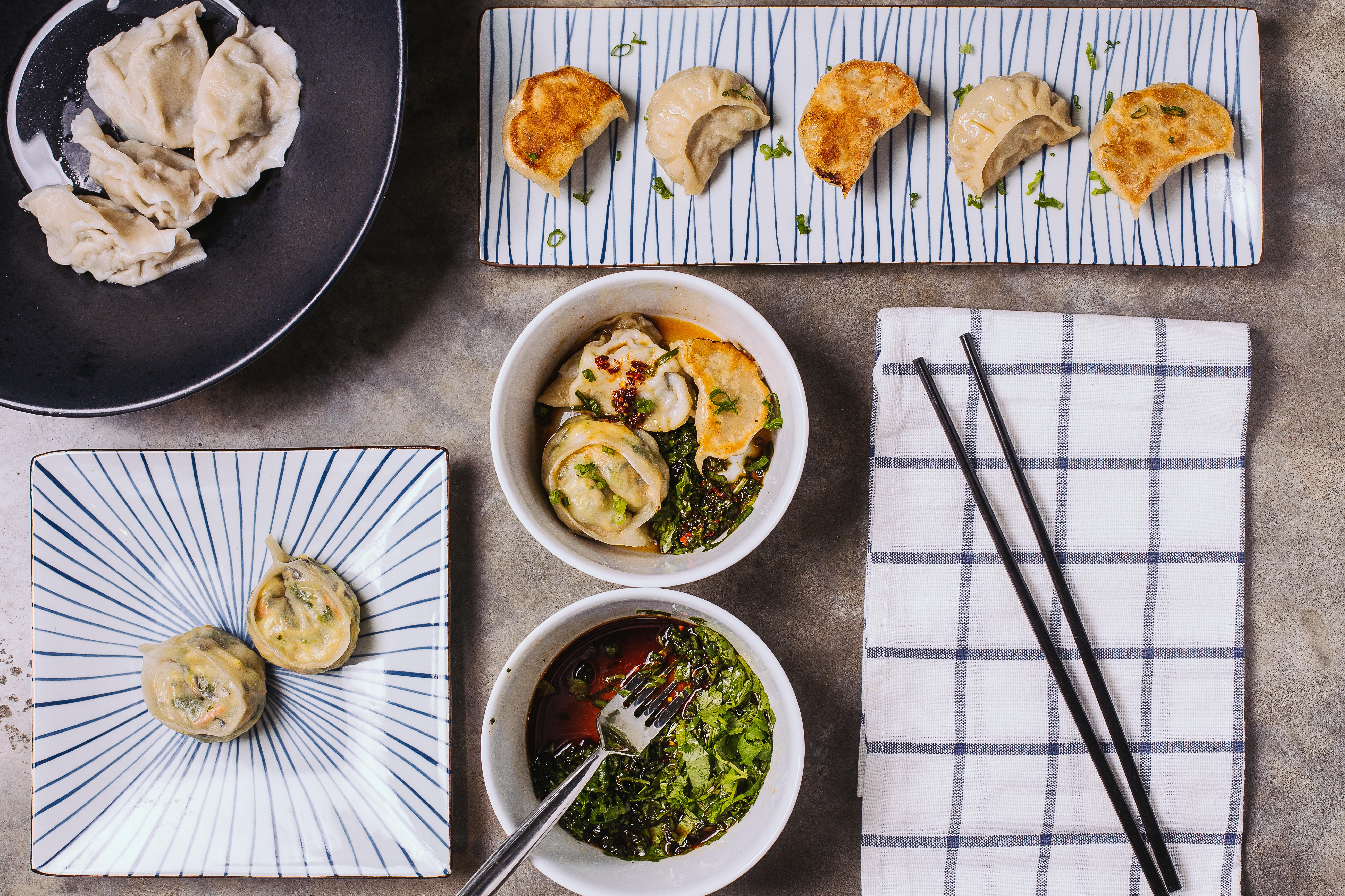 taiwanese & chinese jiaozi, japanese gyoza, korean jjinmandu